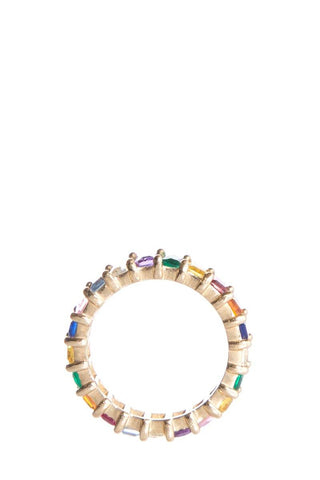 Suzanne Kalan 18K Gold Multicolor Sapphire Eternity Band Ring SZ 6