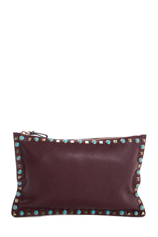 Valentino Plum Leather Rockstud Turquoise Accent Clutch