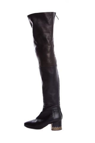 Chanel Navy & Black Leather Knee-High Riding Boots SZ 37
