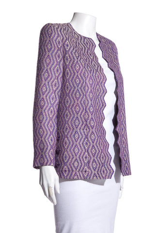 Chanel Vintage Purple Tweed Pattern Evening Jacket SZ 36