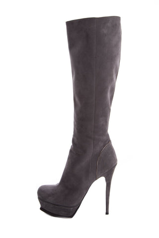 Yves Saint Laurent Grey Suede Knee-High Boots SZ 39