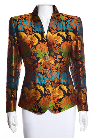 Yves Saint Laurent Vintage Orange & Multicolor Floral Pattern Blazer SZ 38