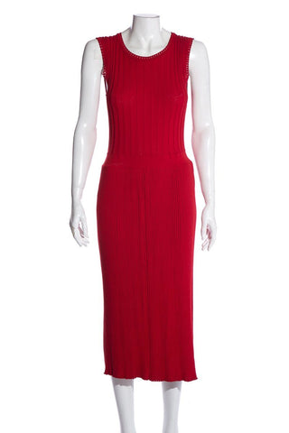 Adam Lippes Red Sleeveless Long Pleated Dress SZ M NWT