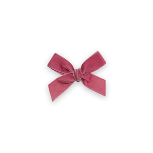 Velvet Hair Bow - Pink Rose