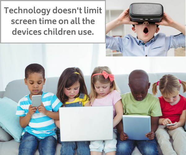 Children using technology smartphone tablet laptop and virtual reality