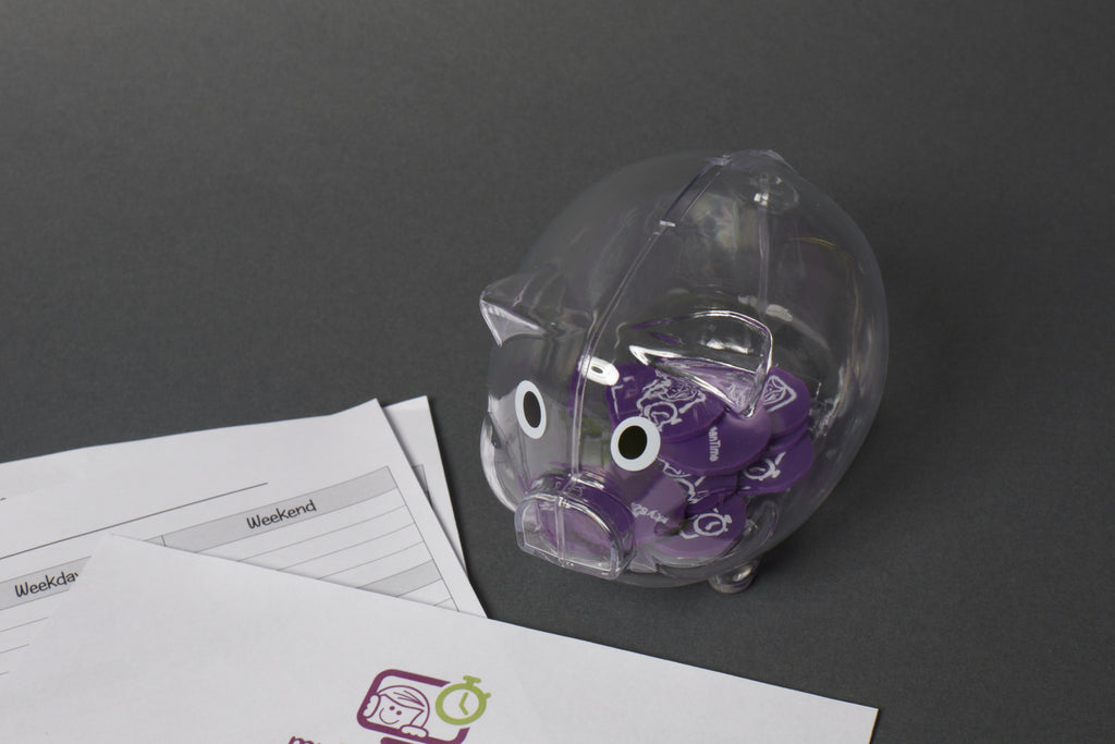 myScreenTime Piggy Bank with Purple Tokens