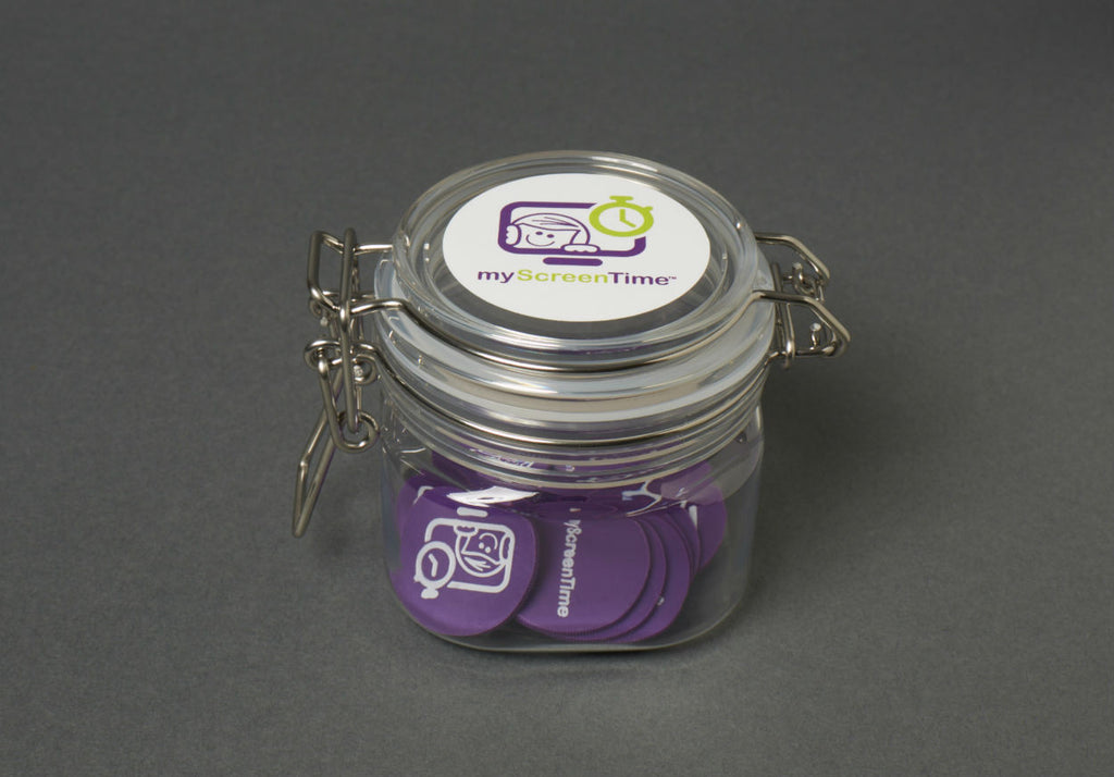 myScreenTime Parent Jar with Purple Tokens