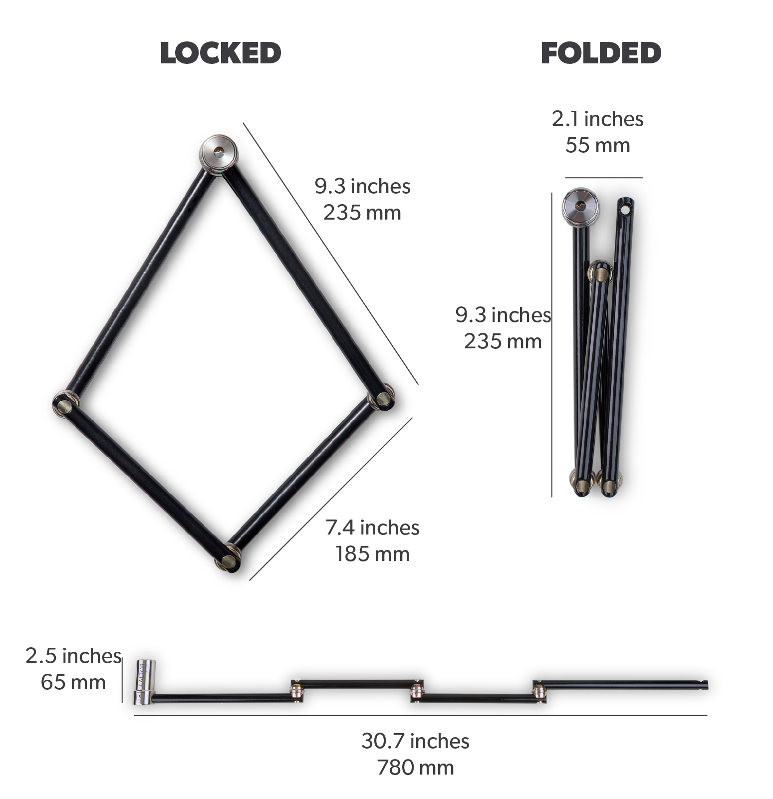 best titanium lock extended double length secure folding lightweight slim profile compact bike lock