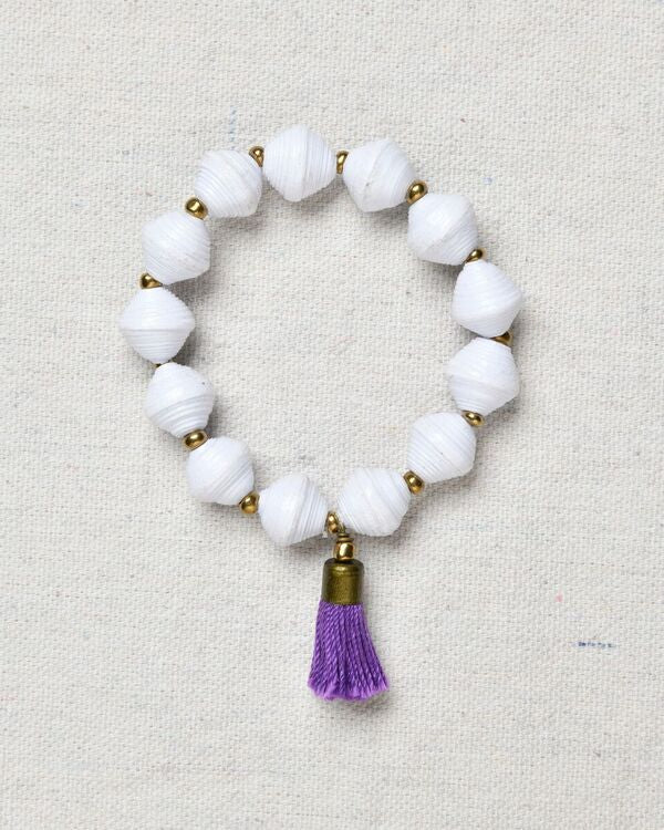 Paper Bead Bracelet with Tassel