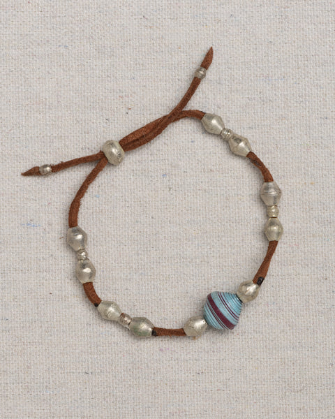 Leather Wrap Bracelet with Paper Bead