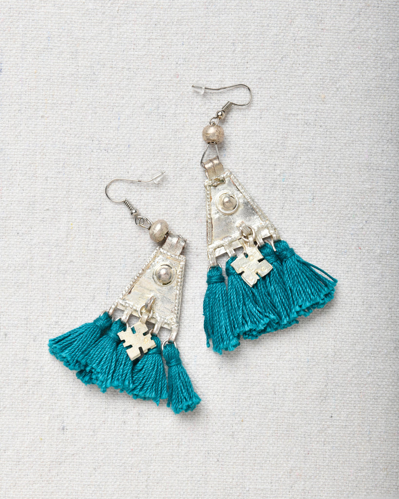 Earrings Triangle with Tassels