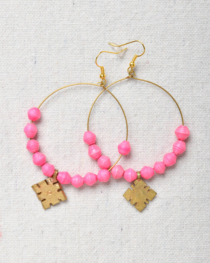 Earrings Hoop Earrings with beads and cross