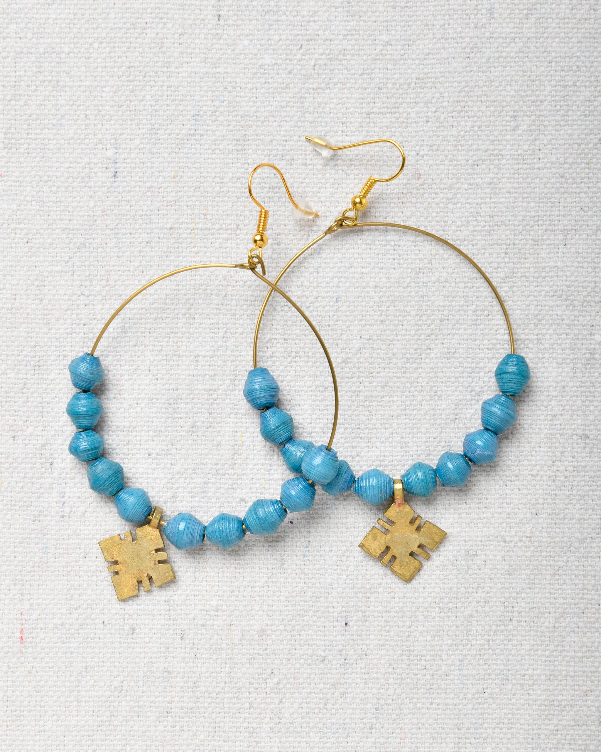 Hoop Earrings with beads and cross