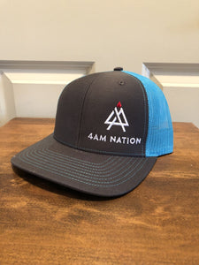 CHARCOAL AND NEON BLUE - WHITE LOGO RED TIP