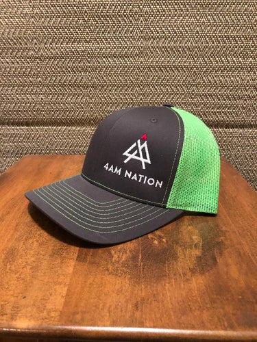 CHARCOAL AND NEON GREEN - WHITE LOGO RED TIP