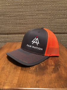 CHARCOAL AND NEON ORANGE - WHITE LOGO RED TIP