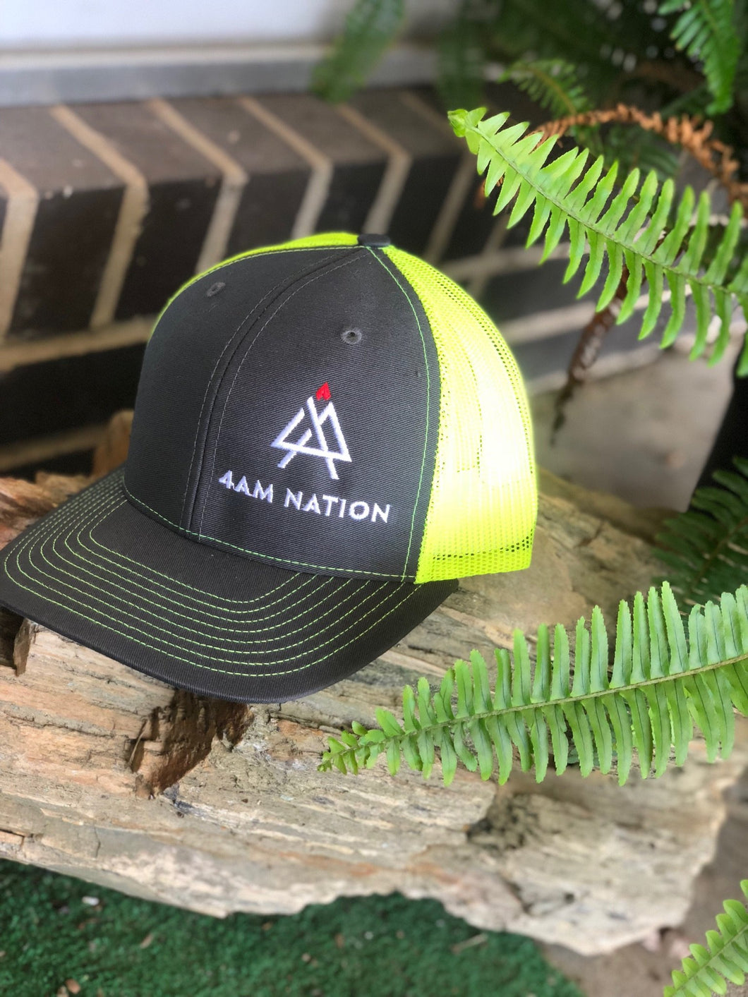 CHARCOAL AND NEON YELLOW - WHITE LOGO RED TIP