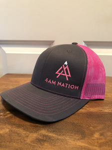 CHARCOAL AND PINK - PINK LOGO WHITE TIP