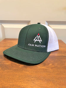 DARK GREEN AND WHITE - WHITE LOGO RED TIP