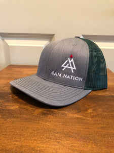 HEATHER GREY AND DARK GREEN - WHITE LOGO RED TIP
