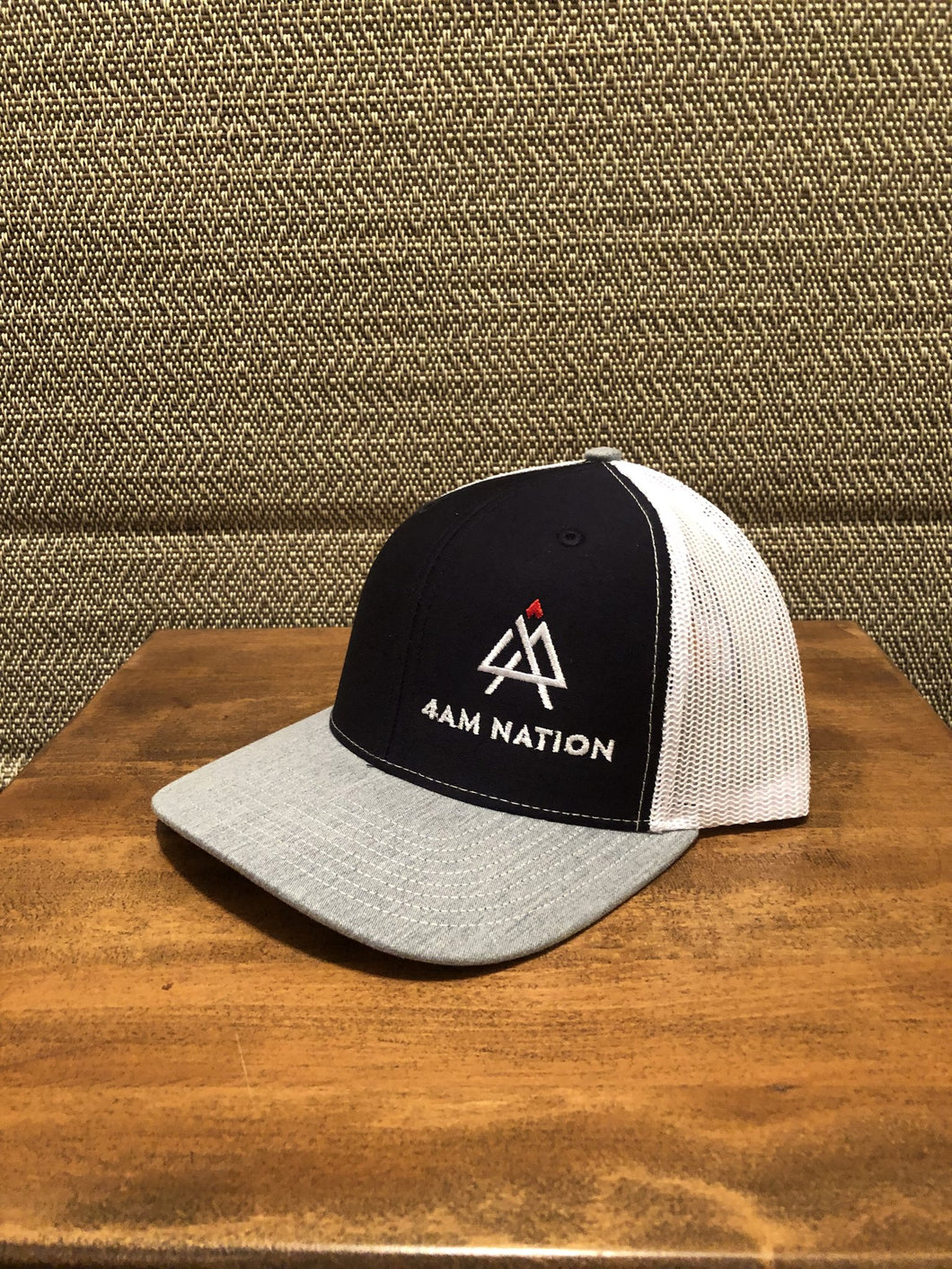 NAVY WHITE AND HEATHER GREY - WHITE LOGO RED TIP