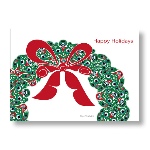 """Frog Wreath"" Holiday Art Card Set - The Shotridge Collection"
