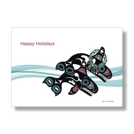 """Orcas in Waves"" Holiday Art Cards - Shotridge.com"