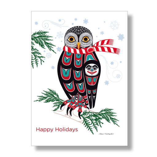 """Holiday Owl"" Holiday Art Card Set - The Shotridge Collection"