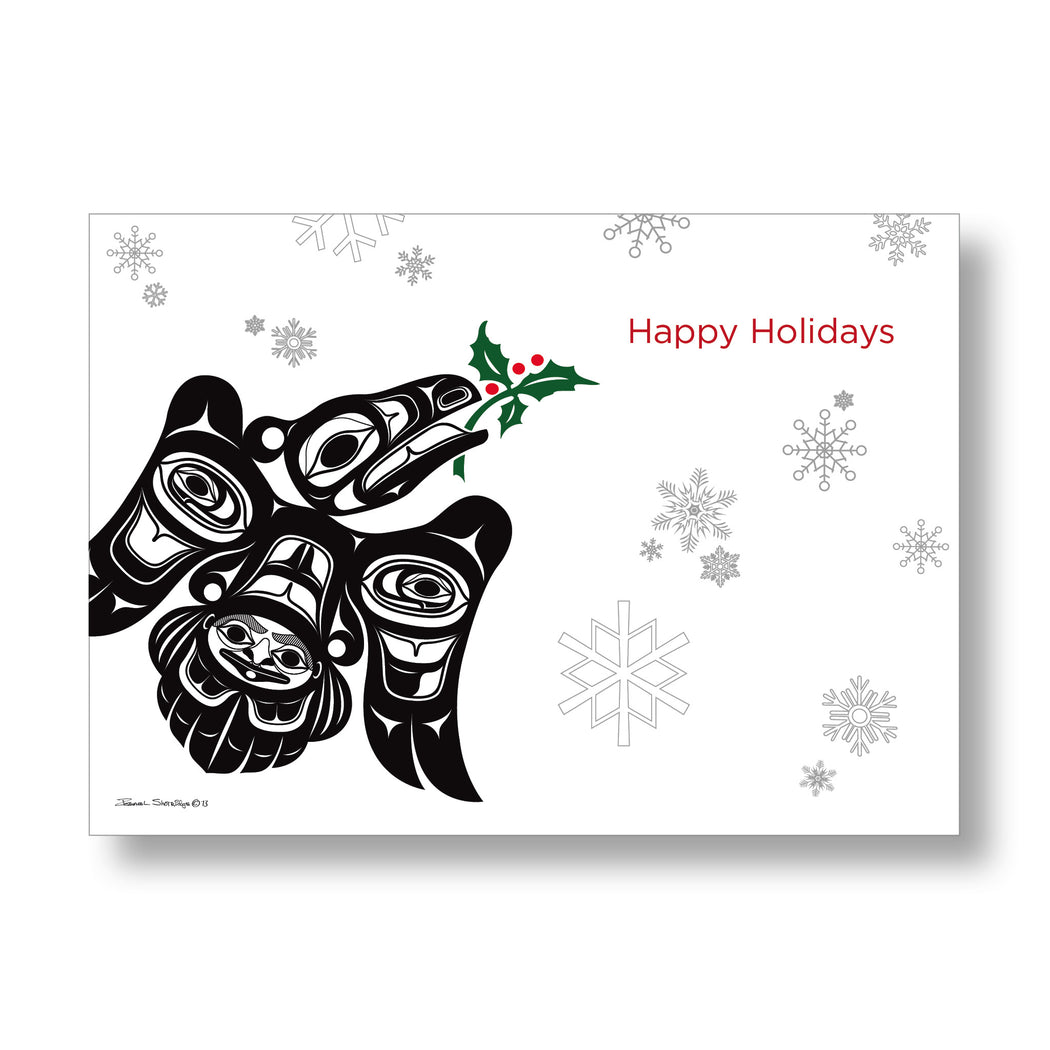 """Raven with Holly"" Holiday Art Cards - Shotridge.com"