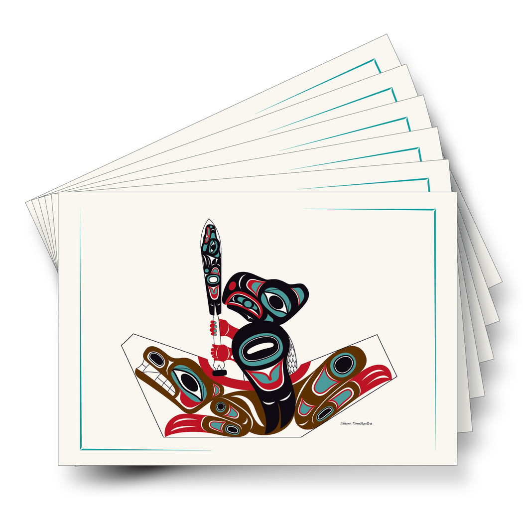 """Eagle & Bear Canoe"" Art Card - Shotridge.com"