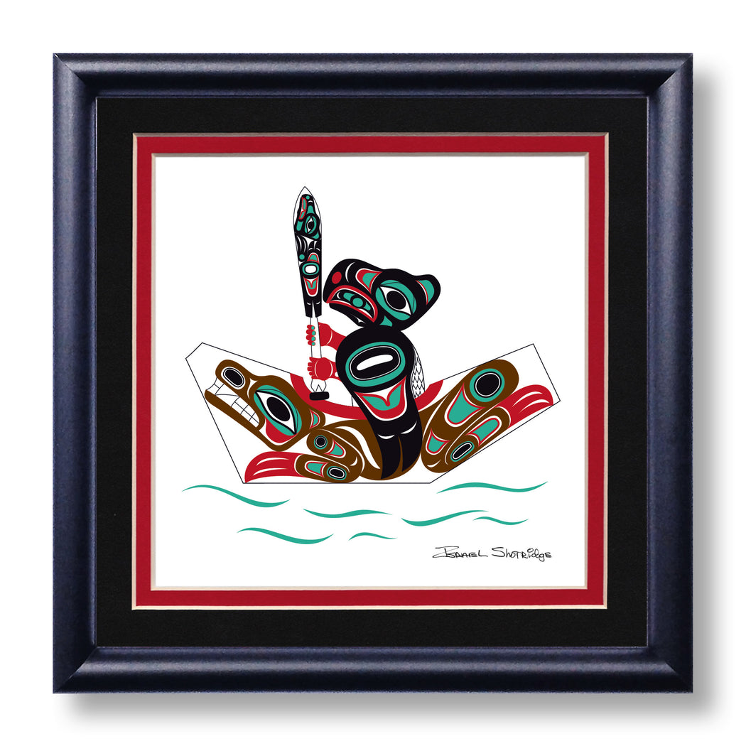 """Eagle & Bear Canoe"" Hand Signed Framed Giclée Art Print - The Shotridge Collection"
