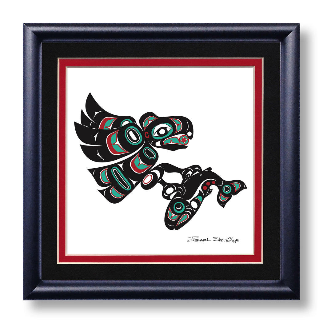 """Eagle & Salmon"" Hand Signed Framed Giclée Art Print - The Shotridge Collection"