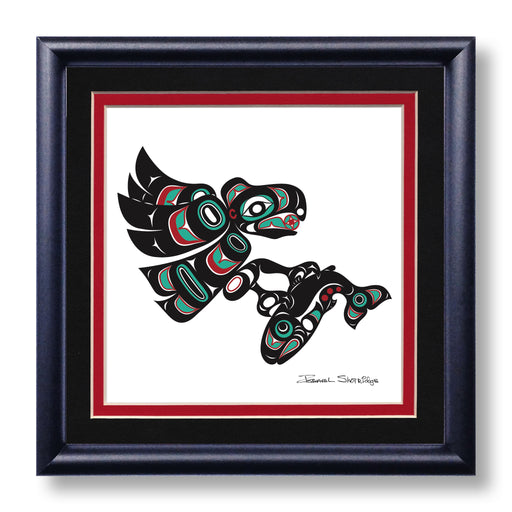 """Eagle & Salmon"" Hand Signed Framed Giclée Art Print - Shotridge.com"