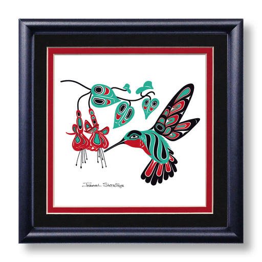 """Hummingbird & Fuchsia"" Hand Signed Framed Giclée Art Print - The Shotridge Collection"