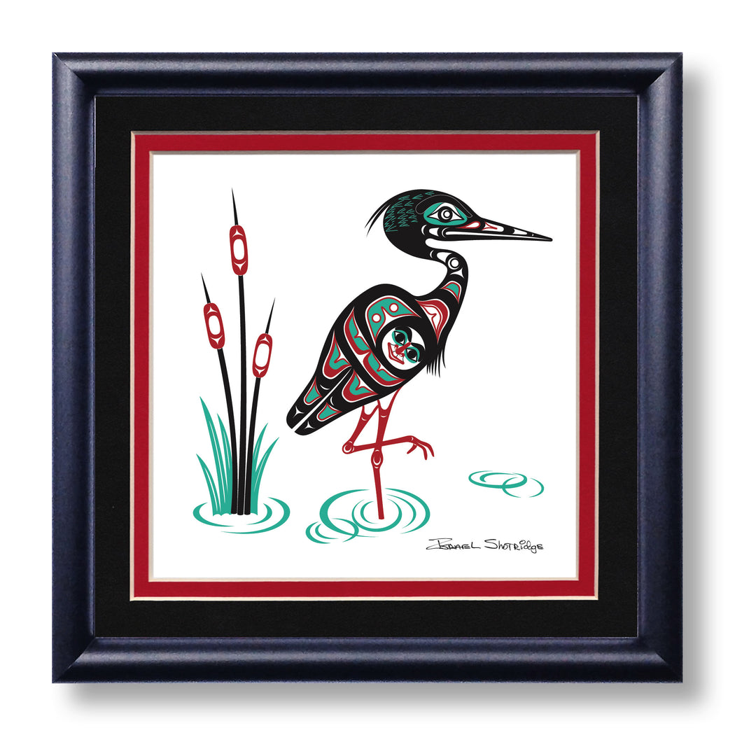 """Heron"" Hand Signed Framed Giclée Art Print - Shotridge.com"