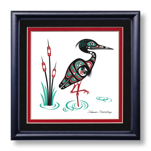 """Heron"" Hand Signed Framed Giclée Art Print - The Shotridge Collection"