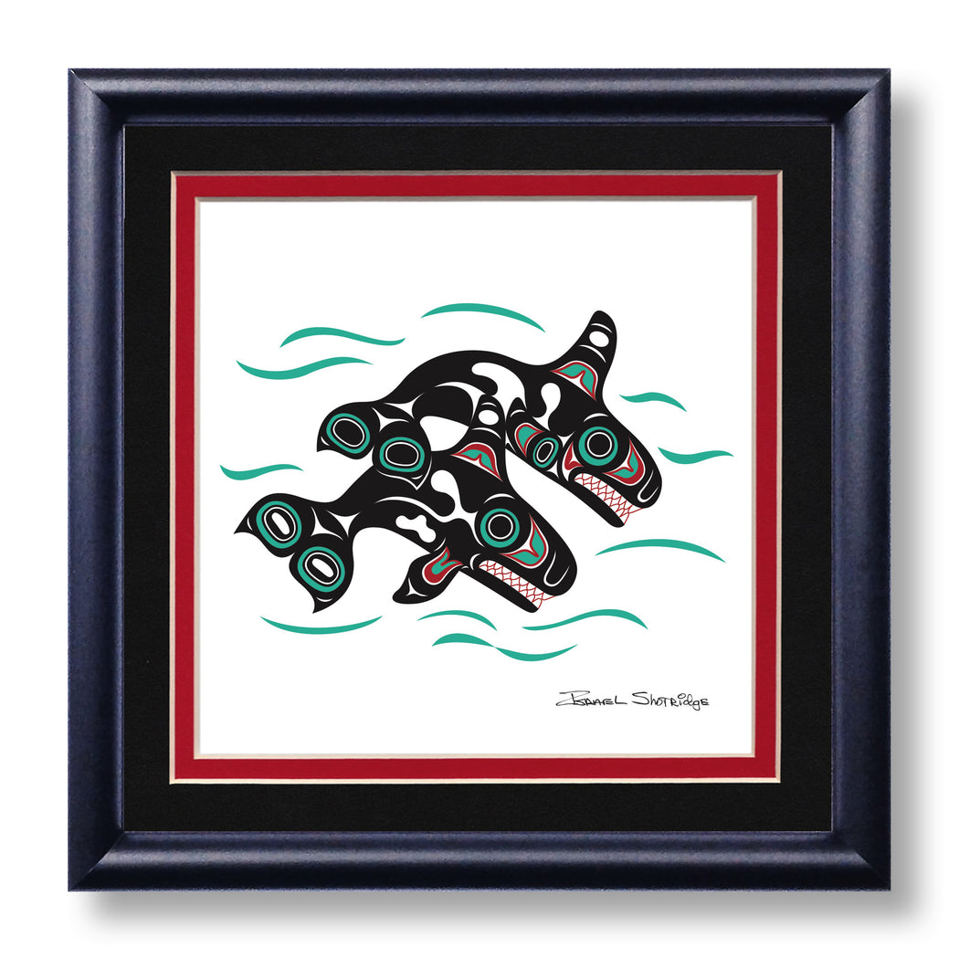"""Orcas"" Hand Signed Framed Giclée Art Print - The Shotridge Collection"