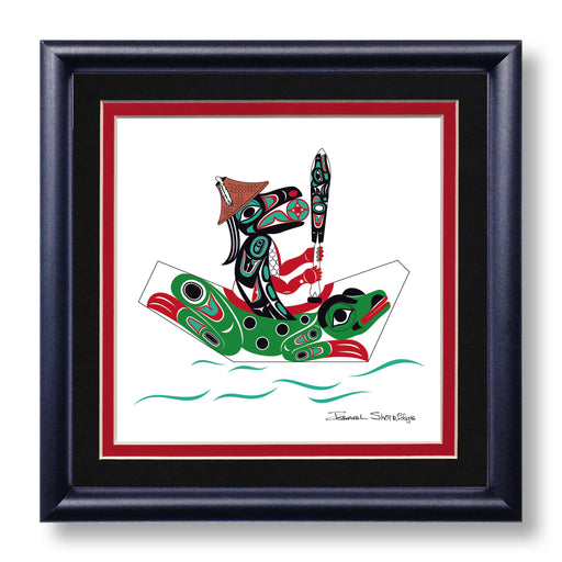 """Raven & Frog Canoe"" Hand Signed Framed Giclée Art Print - The Shotridge Collection"