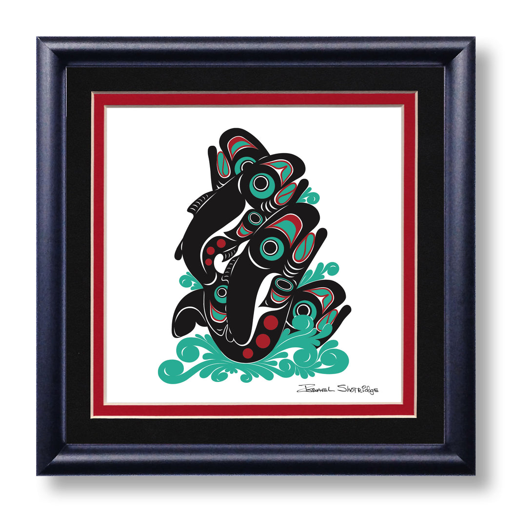 """Salmon"" Hand Signed Framed Giclée Art Print - The Shotridge Collection"