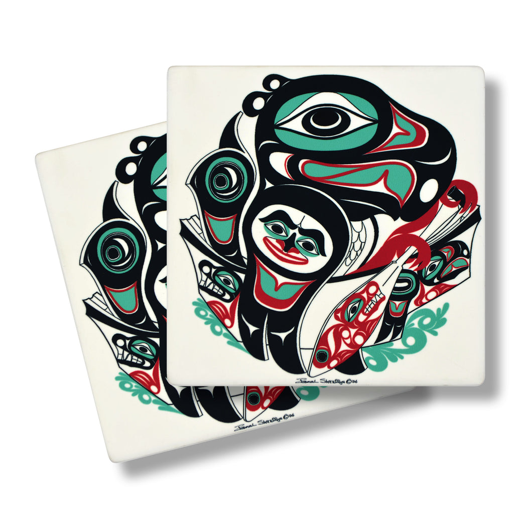 """Going to the Potlatch"" Sandstone Coasters - The Shotridge Collection"