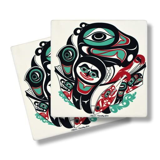 """Going to the Potlatch"" Sandstone Coasters"