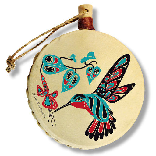 """Hummingbird & Fuchsia"" Drum Ornament - The Shotridge Collection"