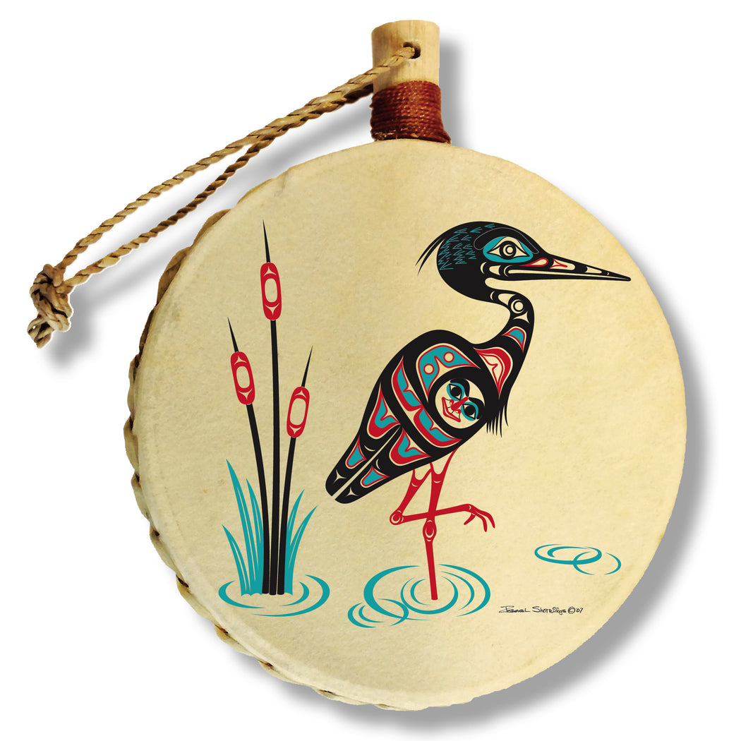 """Heron"" Drum Ornament - The Shotridge Collection"