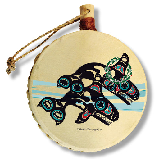 """Orcas Wreath"" Drum Ornament - The Shotridge Collection"