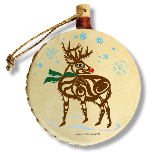 """Reindeer"" Drum Ornament - The Shotridge Collection"