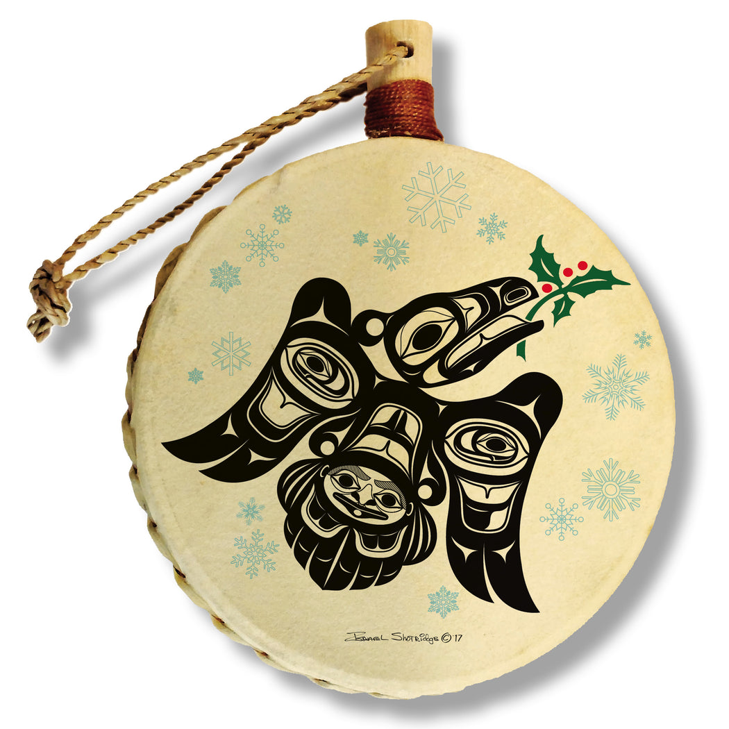 """Raven Holly"" Drum Ornament - The Shotridge Collection"