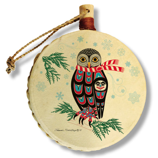 """Holiday Owl"" Drum Ornament - The Shotridge Collection"