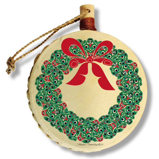 """Frog Wreath"" Holiday Drum Ornament - The Shotridge Collection"