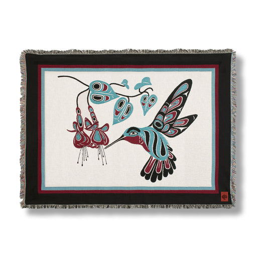 """Hummingbird & Fuchsia"" Cotton Tapestry Blanket Throw"