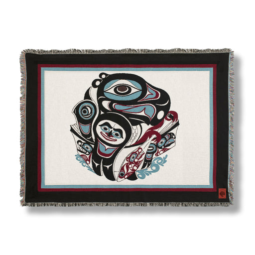 """Going to the Potlatch"" Cotton Tapestry Blanket Throw"